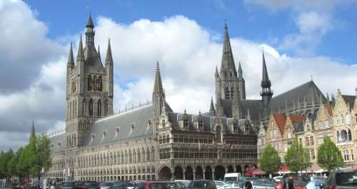 View on the Cloth Hall, called the Lakenhalle in Flemish, and the Nieuwerck located in the centre of Ypres.